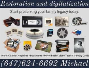 Реставрация VHS, DVD, Super 8 (8mm) фильмов, оцифровка фото